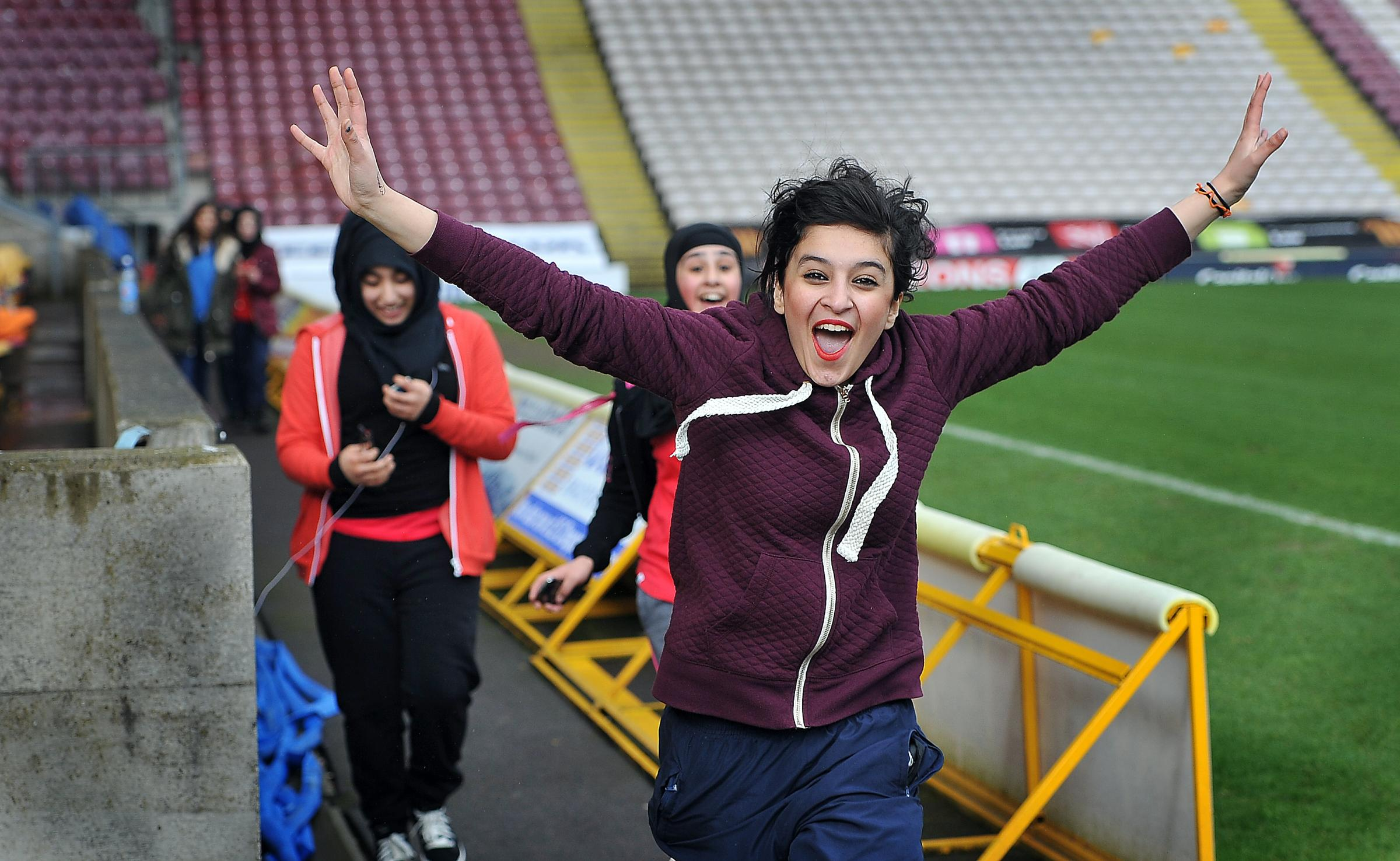 Belle Vue Girls' School pupils run their mile for Sport Relief at Valley Parade