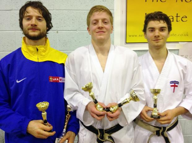 From left, Joe Hart, Tom Little and James Brown, who took a team bronze for Leeds Karate Academy in the 45th North West Open Championships