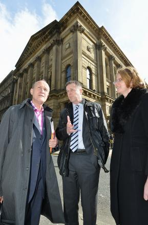 Tony Reeves chats to Peter Bazalgette chairman of Arts Council England, left, with Councillor Susan Hinchcliffe