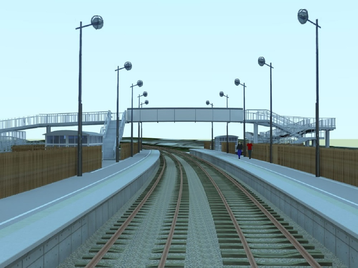 An artist's impression of the proposed Low Moor Station looking east