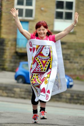 Lisa Wright from Gomersal who is going to run the London Marathon dress as the Queen of Hearts