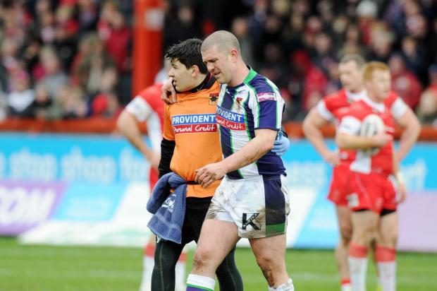 Matt Diskin is helped off the pitch during the Bulls' loss at Hull KR - Picture: Simon Renilson/Hull Daily Mail