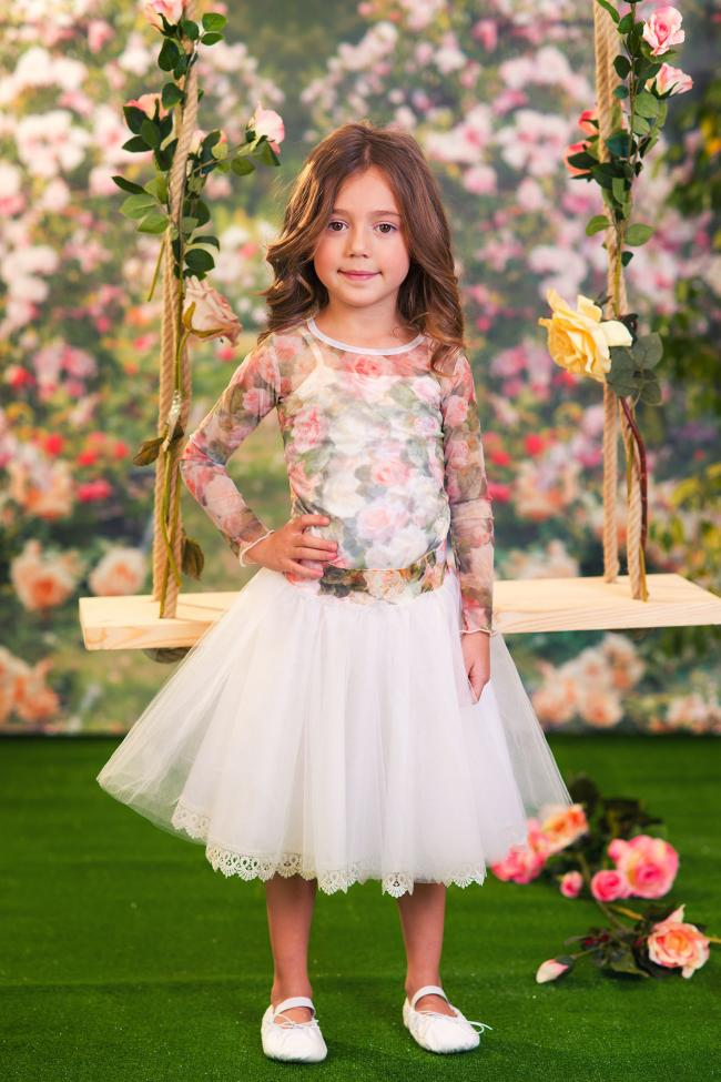 120a0d6ed87c Ecru Tulle Skirt with Roses Waist, £83, and Roses Chiffon Top with Cami