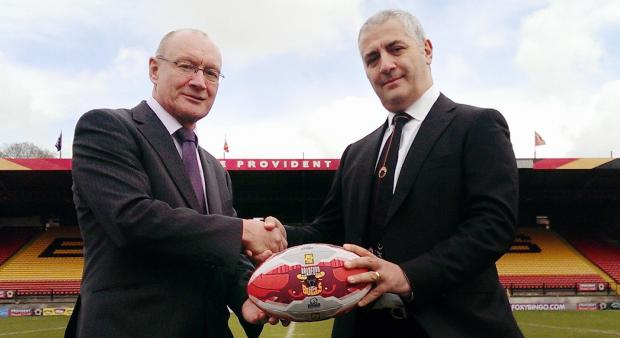 Newly appointed managing director Steve Ferres (left) and Bradford Bulls' new owner Marc Green at Odsal