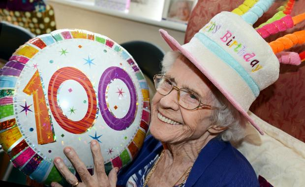 Gertrude Ormandroyd celebrates her 100th birthday at  Bierley Care Home