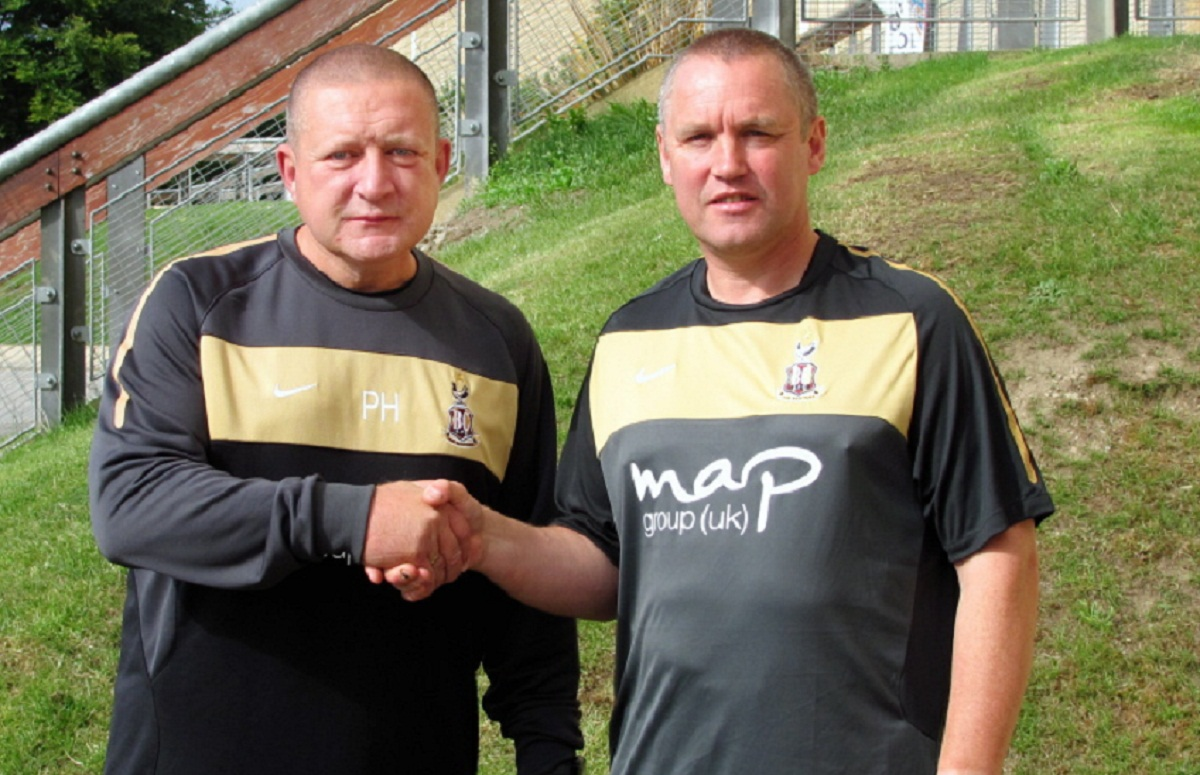 City youth team coach Steve Thornber, right, with Academy manager Peter Horne