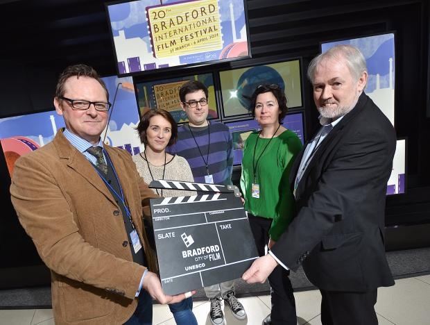 The judging panel of the European feature film competition – Bradford Design exchange director David Wilson, actor Vicky McClure, David Jenkins Editor of film magazine Little White Lies, and poet and film critic Dana Linssen - with Bill Laurence