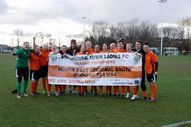 Brighouse Town celebrate winning the North East Regional Women's League Southern Division