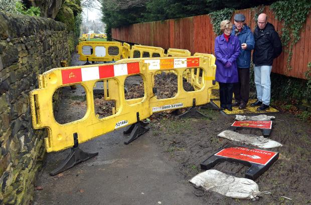 Concerned resident John Bromley (centre) points out gas mains work to Lilian Frankel and Councillor Martin Love