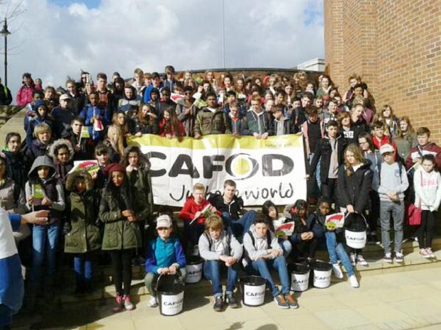 SUCCESS: The pupils who took part in the water-carrying challenge in aid of the CAFOD campaign