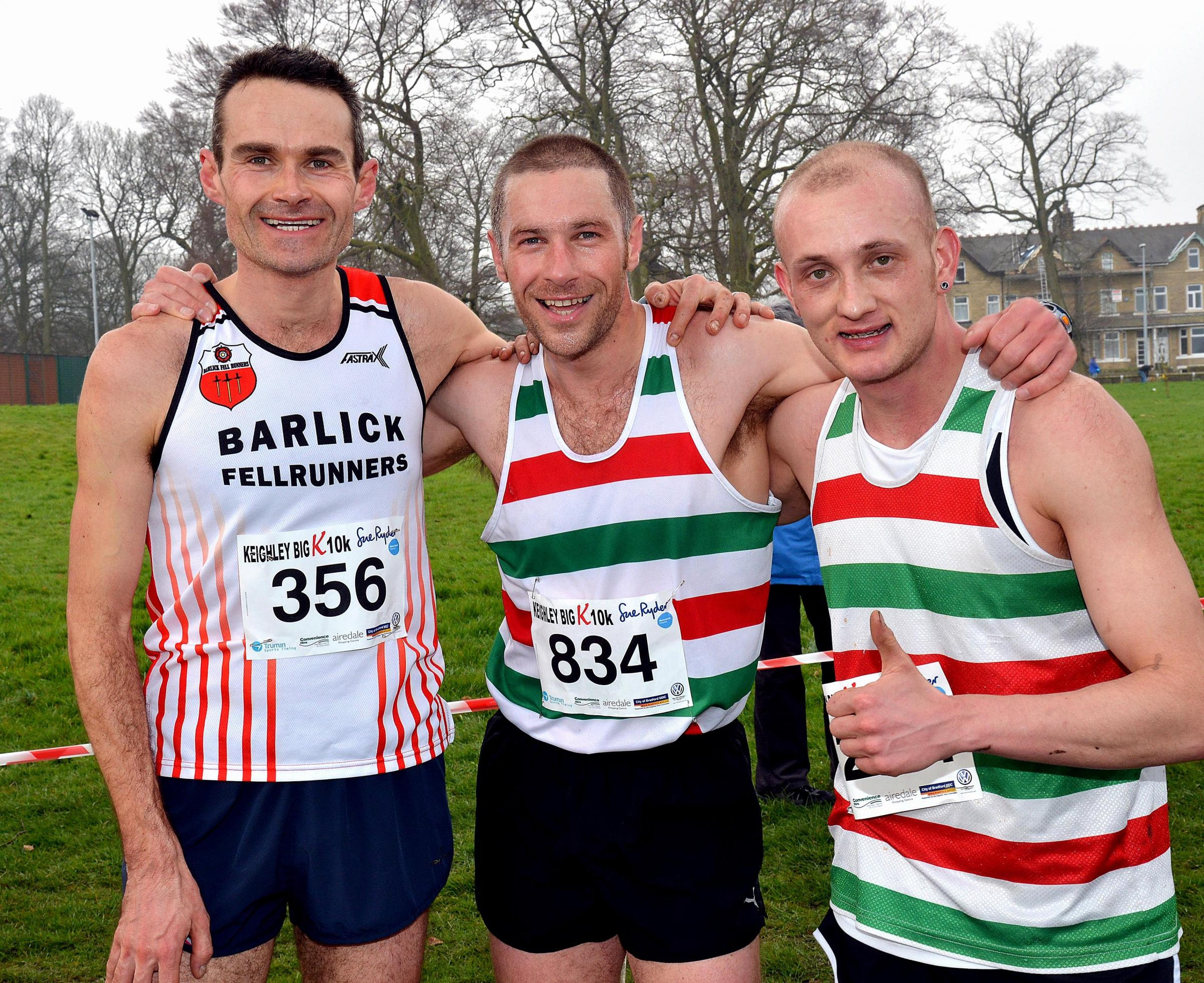 Race winner Will Smith, centre, with second-placed Julian Hood, left, and Craig Shearer, who was third