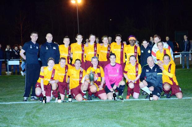 The joyful Bradford City women's team celebrate their victory