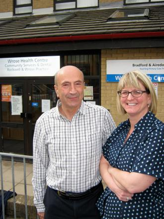 FEET UP: Dr Neil Winn retires after 34 years at Wrose, with practice manager Rachel Thompson