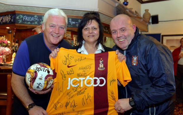 A signed Bradford City shirt and ball will help boost funds at a Burns Unit fundraiser at the Bold Privateer pub in Wrose tomorrow with (from left) Barry Gallagher, landlady Angi Briscoe and compere Gary Stokes