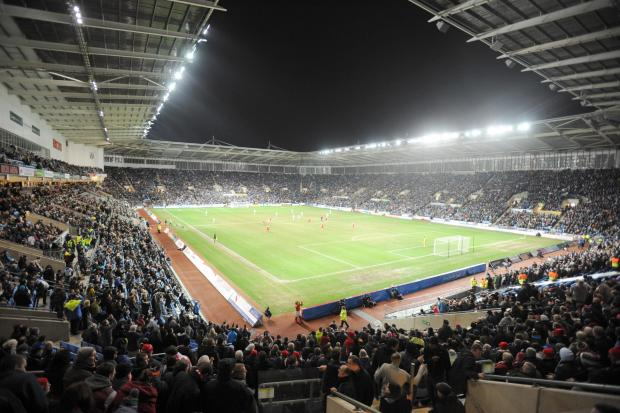 Coventry packed them in at the fabulous Ricoh Arena (pictured) but now it's a case of spot the fan at Sixfields, their new 'home'