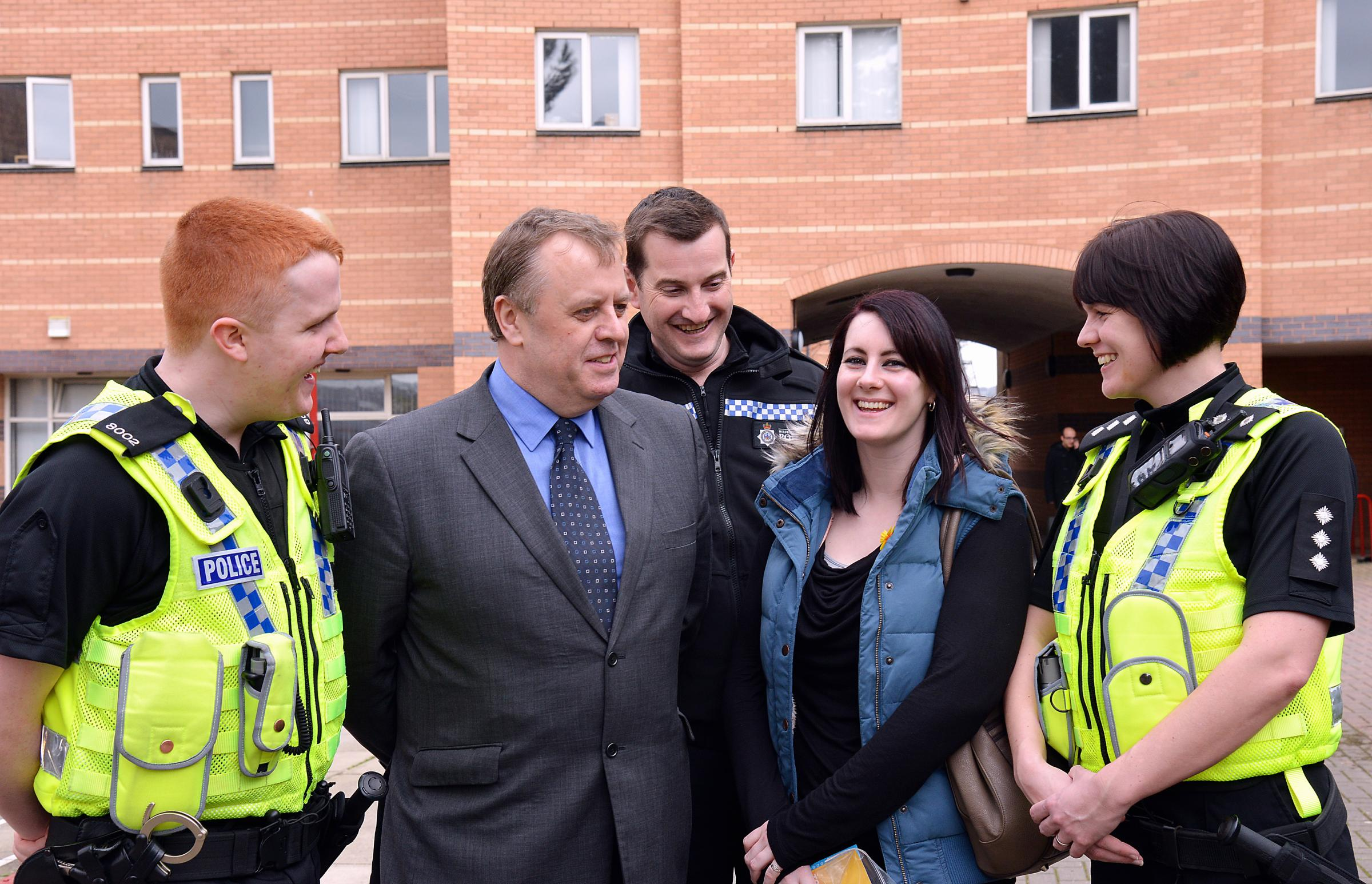 Mark Burns-Williamson (second left) and Assistant Chief Constable John Robins (centre) with Special Constable John Rhodes, Chief Inspector Sarah Baker and student Zoe Wood