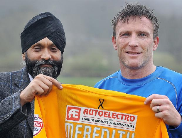 Autoelectro managing director Tony Bhogal with City player Garry Thompson