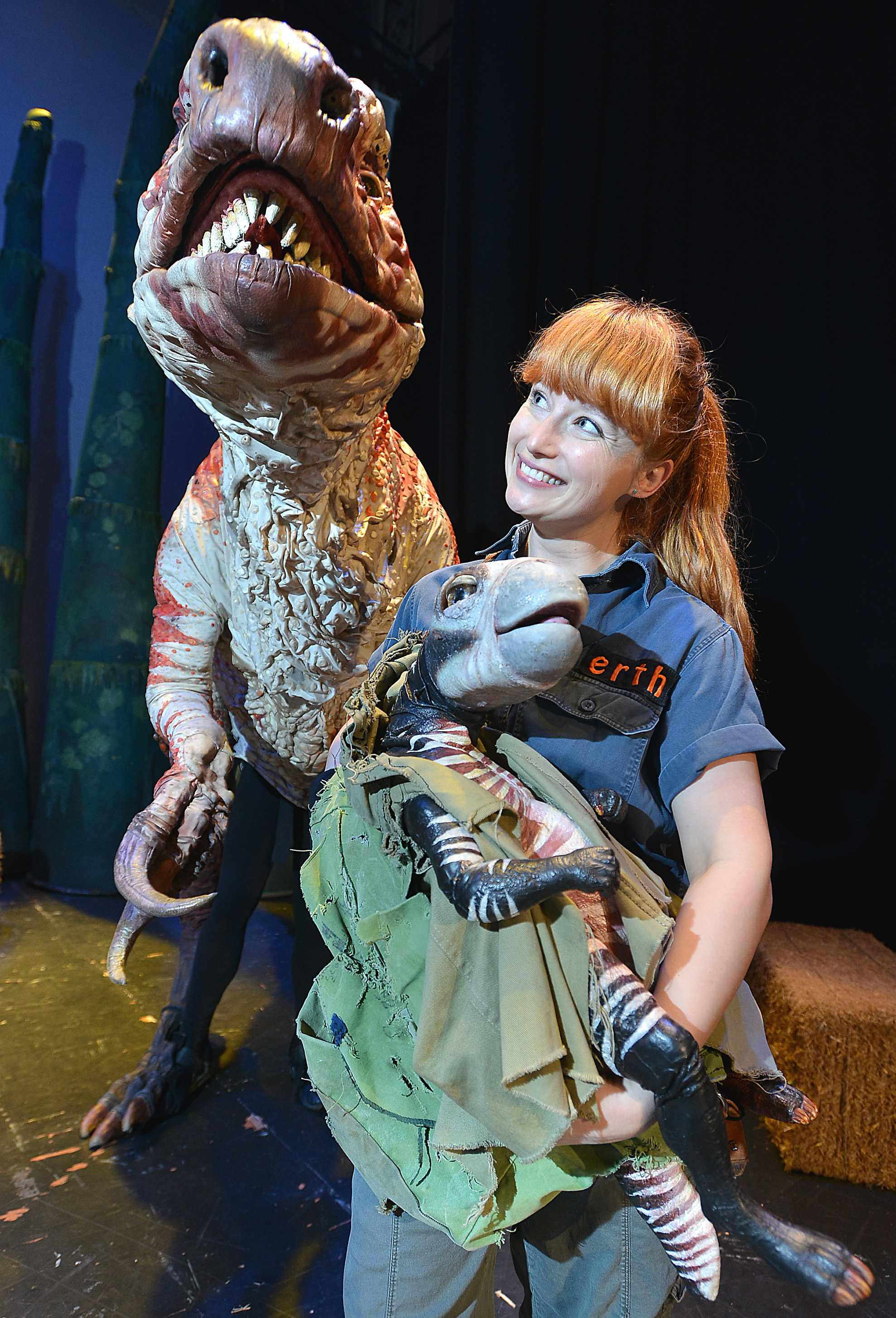 SHOW: Zoo keeper Lindsey Chaplin with some of the creatures from Erth's Dinosaur Zoo which is visiting St George's Hall in Bradford