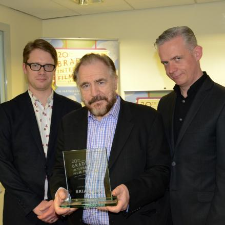 PRIZE: Brian Cox (centre) with the Bradford International Film Festival Lifetime Achievement Award, plus festival co-directors Tom Vincent and Neil Young