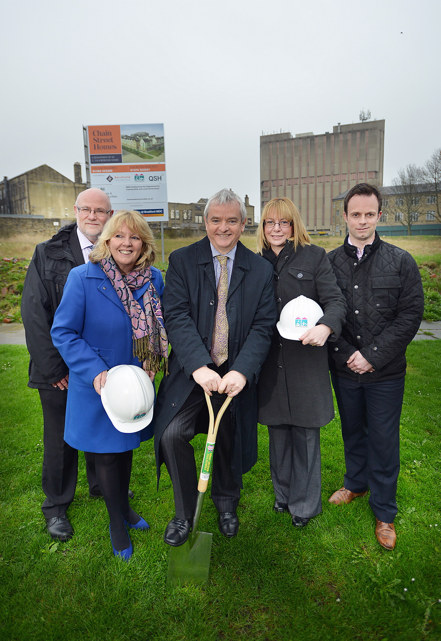 Left (from left) Richard Panter, from HCA, Geraldine Howley, of Incommunities, David Orr, from the National Housing Federation, Nichola Clayton, from QSH, and Dan Gaunt, from Barfield Construction