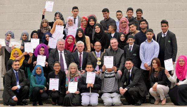 The Lord Mayor of Bradford, Coun Khadim Hussain, meets Carling Bolling College ambassadors