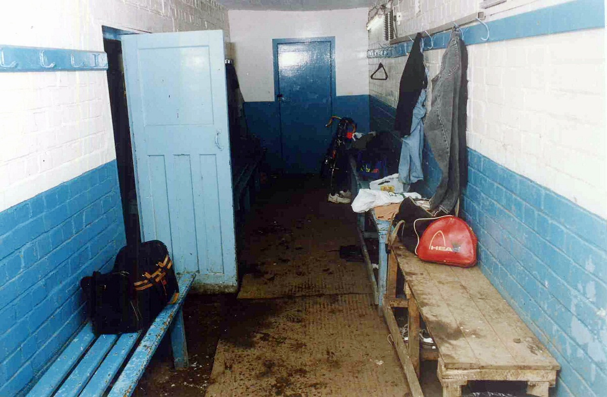 The cramped changing facilities in the old air-raid shelter at Wyke Recreation Ground