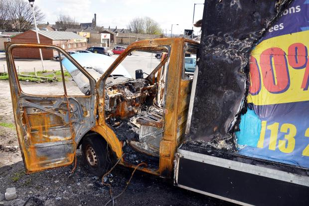 The burnt-out van