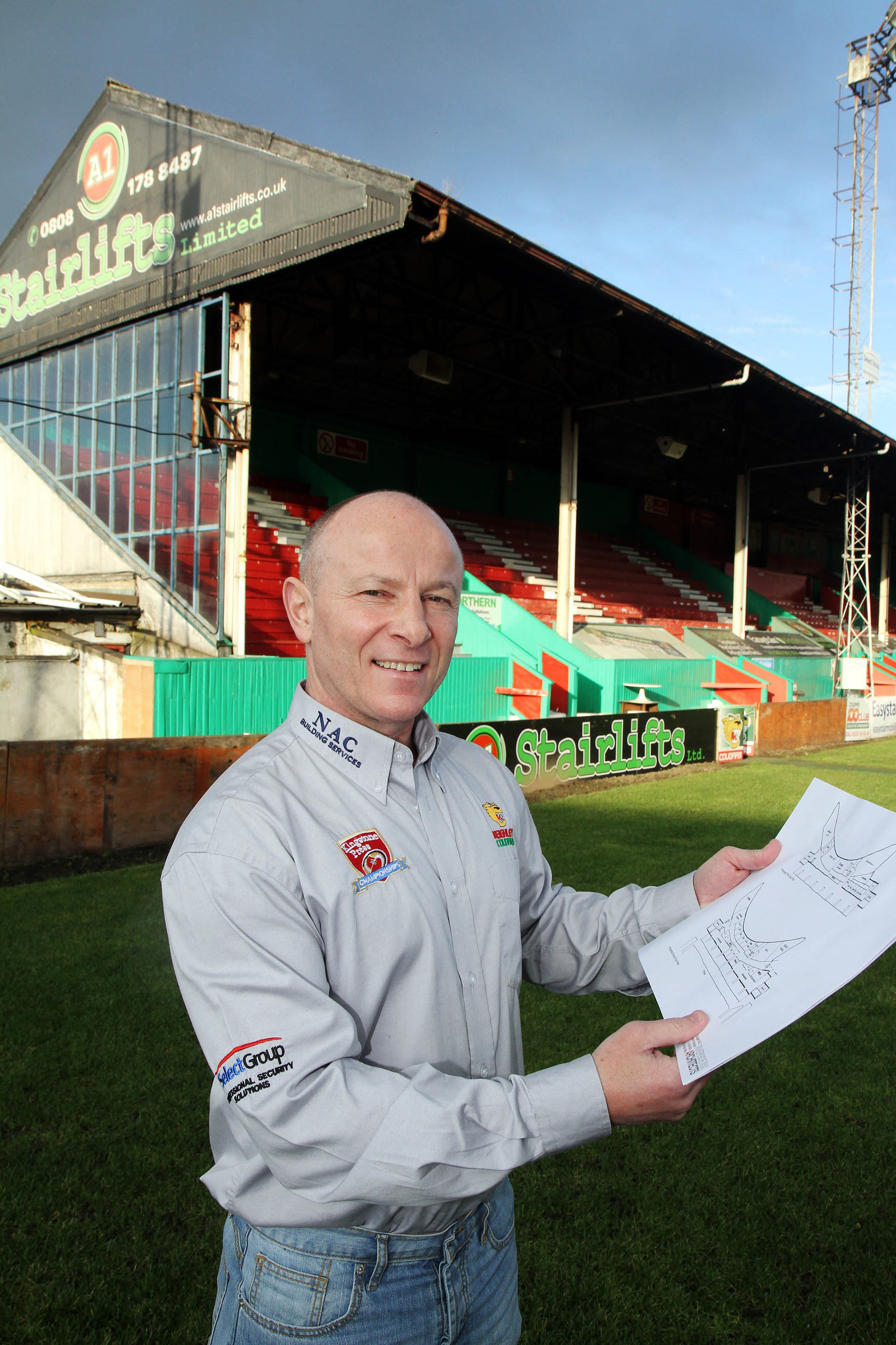 Chairman Gary Fawcett with the plans
