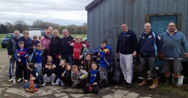 Birkenshaw Junior Rugby League Club after the clean up of their playing fields