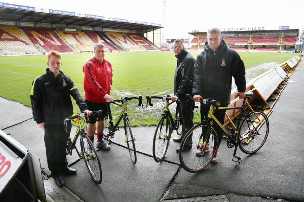 PLANS: From left, Steve Hawthorn-Emmett, Louis Horne, Luke Gallagher and club sponsor Billy Bingham