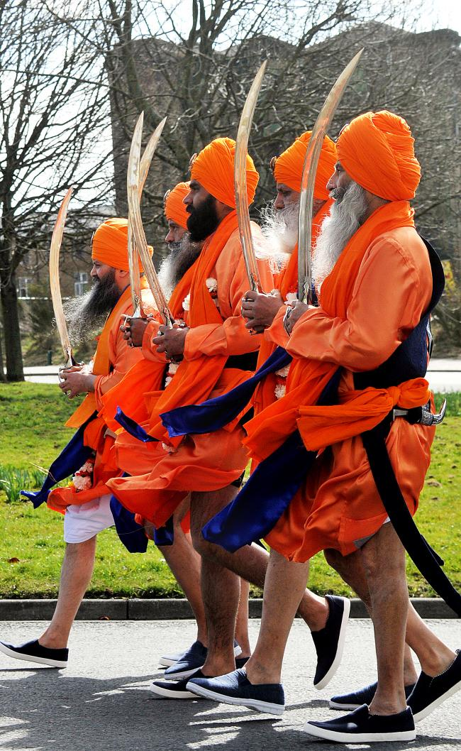 Sikh swordbearers at Nagar Kirtan