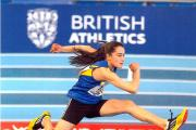 Rhea Southcott pictured in hurdles action during the recent England Athletics combined events championship in Sheffield