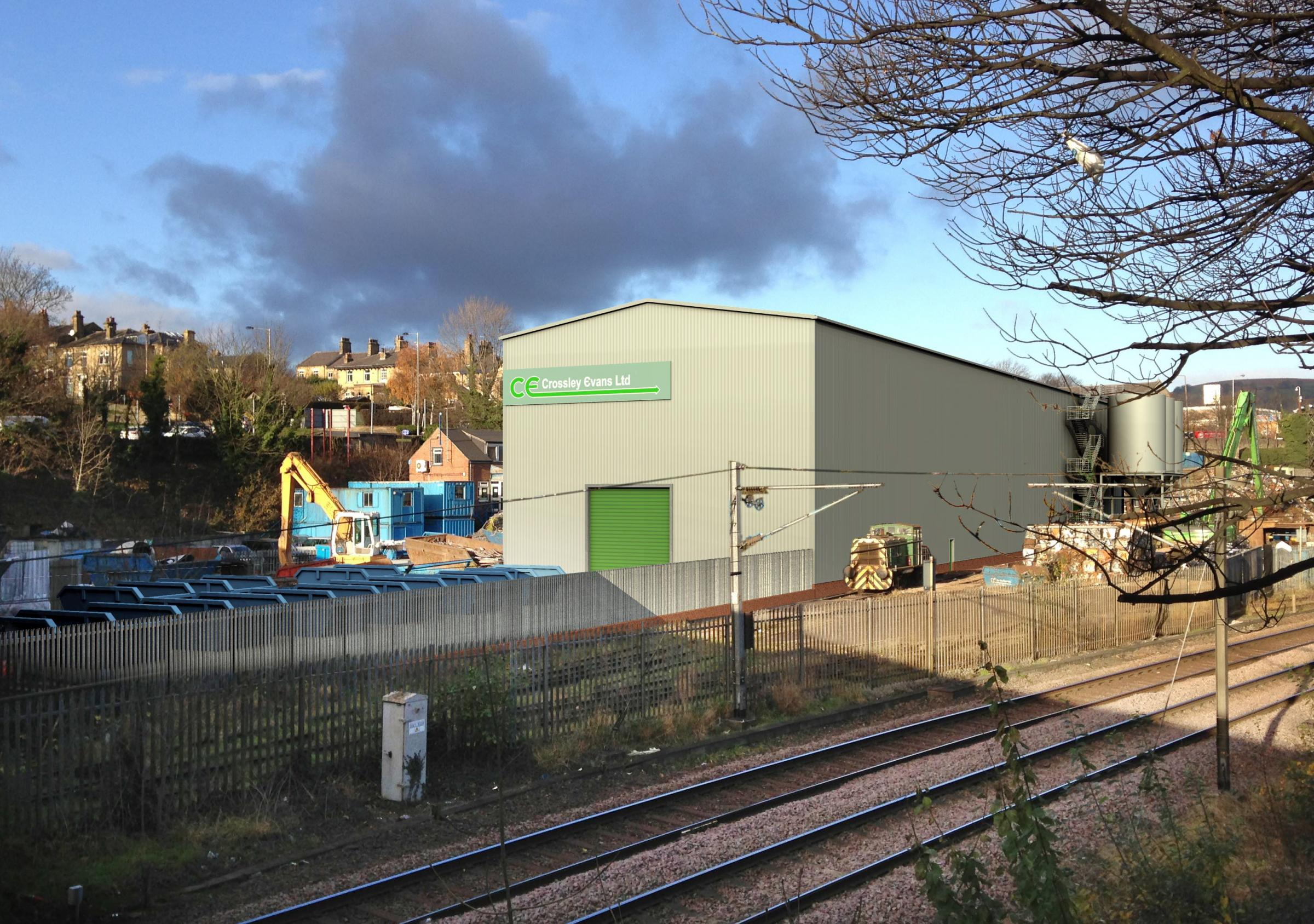 The planned recycling plant on the Crossley Evans site