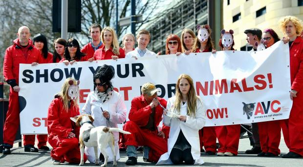 Anti-vivisection campaigners outside the University of Bradford