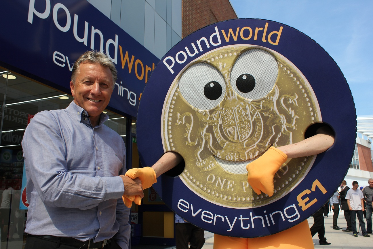 Poundworld chief executive Chris Edwards with the company mascot