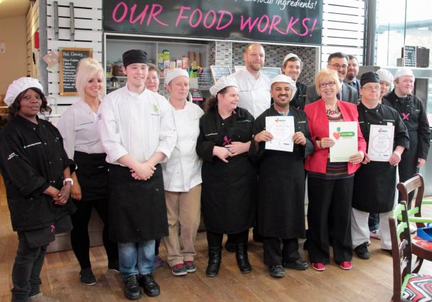 The FoodWorks team receive their award
