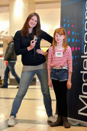 Model scout Amanda Dabrowski with 11-year-old Katie Lee at the first session at the Kirkgate Centre