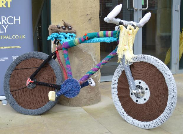 One of the bikes already decorated through the Woolly Bikes Trail project