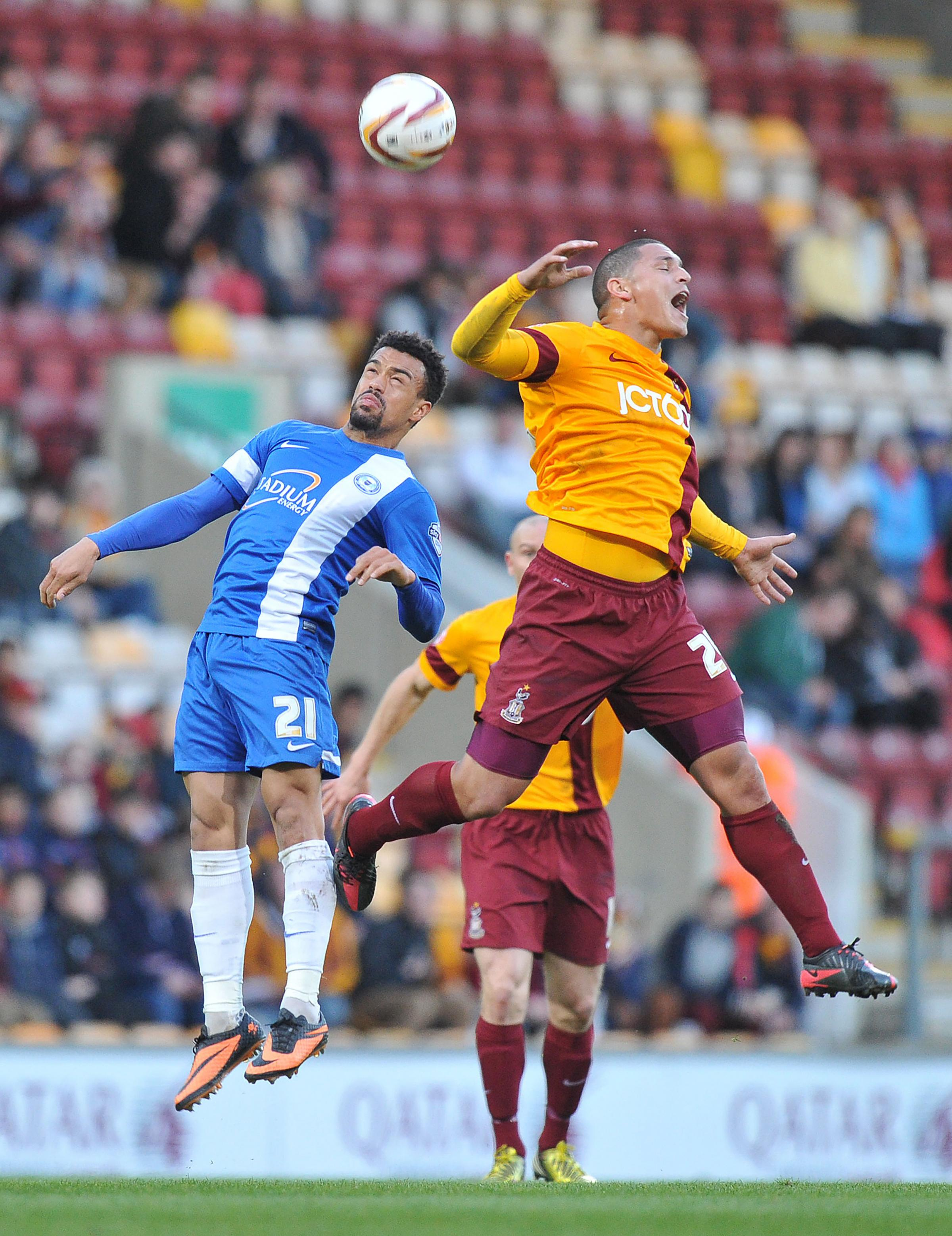 FITNESS FIGHT: Nathan Doyle, right, is hoping to shrug off a groin injury to face Crawley Town