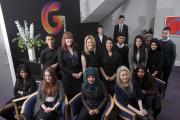 Holly Buxton, Beth Caygill and Safia Hussain (centre) with students from Beckfoot School and Oasis Academy Lister Park.