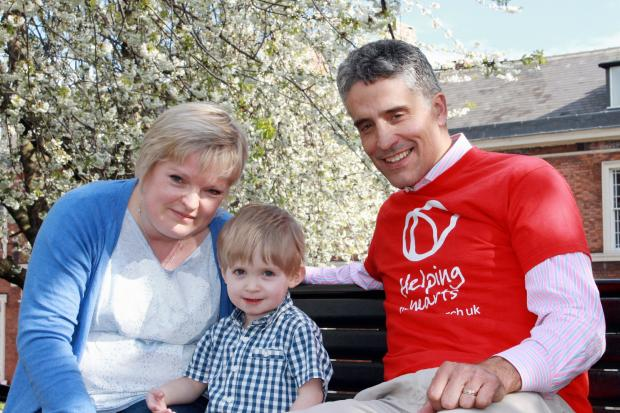 Dominic Irvine with heart patient Riley Platts and his mum Kathryn Walker