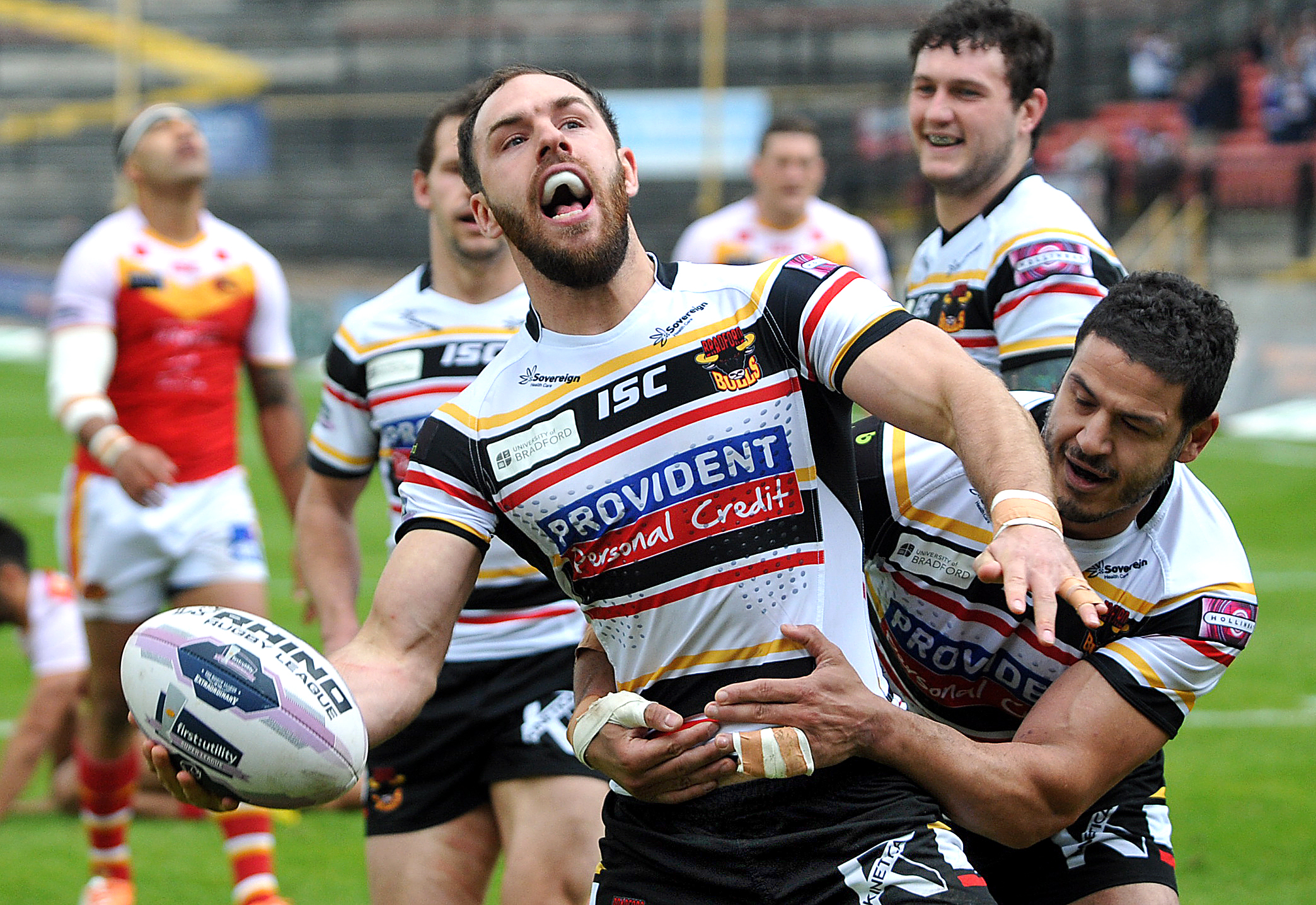 BAWL BOY! Luke Gale shows his delight after scoring in the win over Catalan Dragons