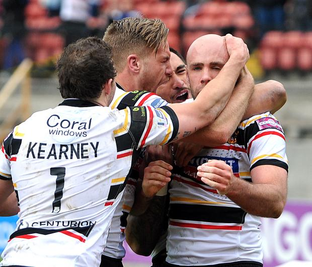 Bradford Telegraph and Argus: Adrian Purtell is the toast of the Bulls after scoring in the win over Catalan Dragons