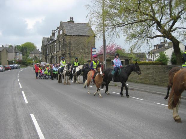 Supporters of Throstle Nest Riding School on the boundary walk around Eccleshill