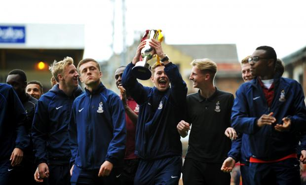 City youth team players paraded the league trophy around Valley Parade at half-time of Saturday's match against Crawley