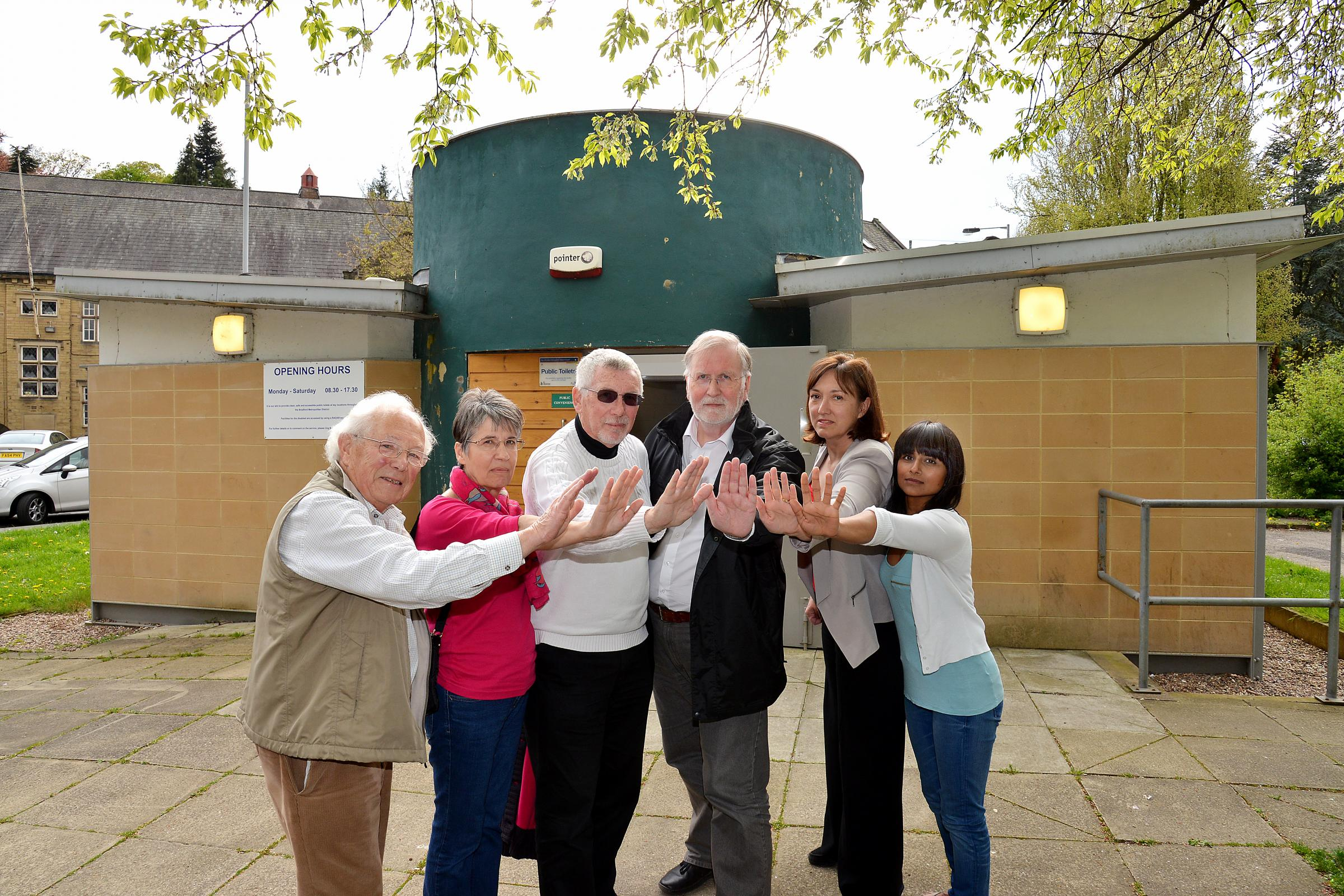 Campaigners against closure (from left) Donald Wood, of Bingley and Airedale Rotary, Jackie and Michael Church, Terry Brown, of the Civic Trust, Ros Dawson, of Bingley Community Council Group, and Jag Picknett, of the WI