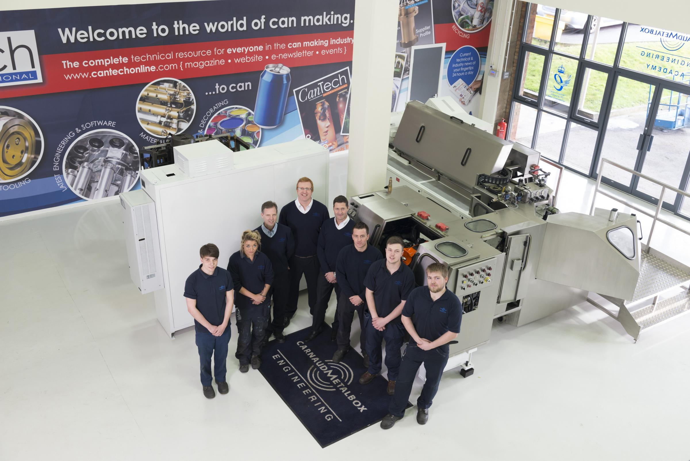 Apprentices and staff in the training section at Carnaud Metalbox