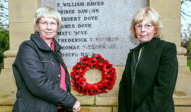 Janet Smithies and Gillian Wilson at the war memorial in Steeton