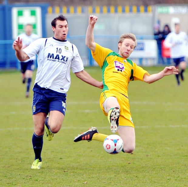 Kevin Holsgrove in action ain the victory over North Ferriby at Nethermoor in March