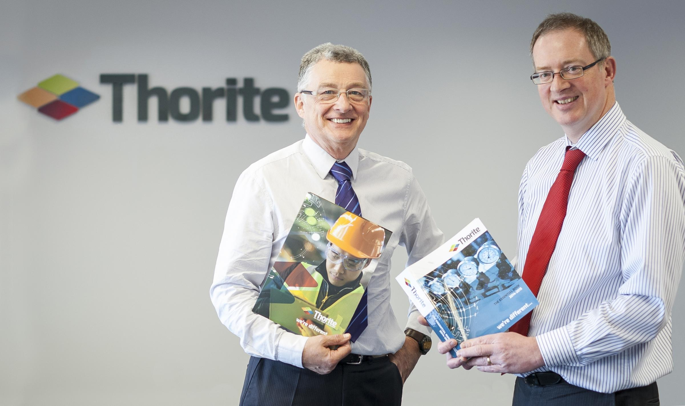 Ross Gowler, Thorite director of marketing and engineering services, and Stephen Wright, managing director, with some of the new-look promotional material
